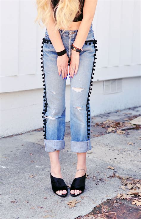 How To Make Diy Pom Pom Jeans With Vintage Levis Love