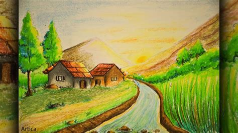 nature drawing color paint pastel painting how to draw a