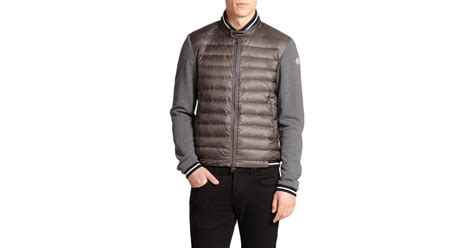 moncler sweater moncler puffer cardigan sweater in gray for lyst