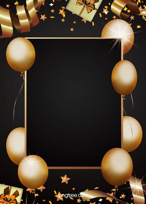 golden party decorations black background birthday