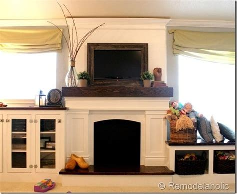 note  framed flat screen tv mantle styled  wood