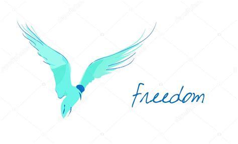 simple illustration  blue bird  sample text freedom