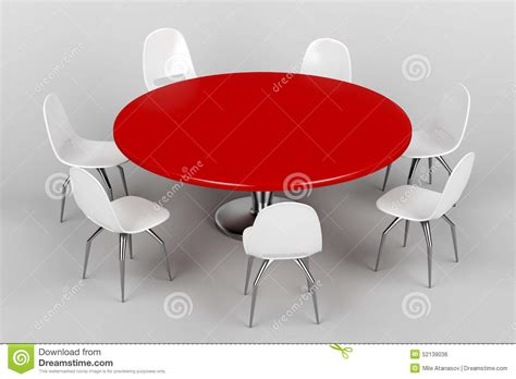 table ronde et chaises table ronde et chaises blanches illustration stock