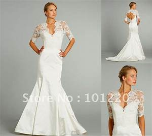 2012 fall satin trumpet lace bodice bridal gown three With covered back wedding dress