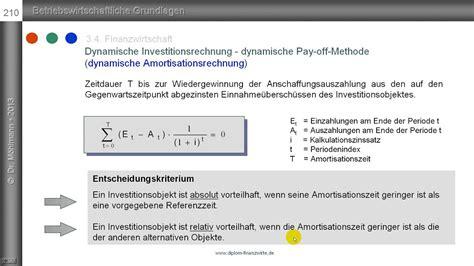 dynamische amortisationsrechnung pay  methode