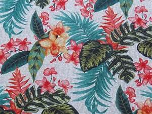Tissu Imprimé Tropical : tissu maille effet lin imprim tropical the sweet mercerie ~ Teatrodelosmanantiales.com Idées de Décoration