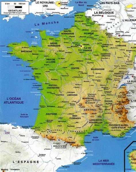 Carte De Avec Villes Fleuves Et Montagnes by Carte De Fleuves Et Grandes Villes