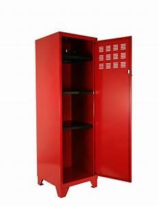 Armoire De Rangement : armoire de rangement m tal 1 porte rouge ~ Teatrodelosmanantiales.com Idées de Décoration