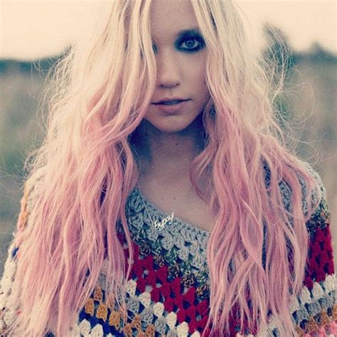 Long Natural Blonde Waves With Pink Ombre Dark Smokey