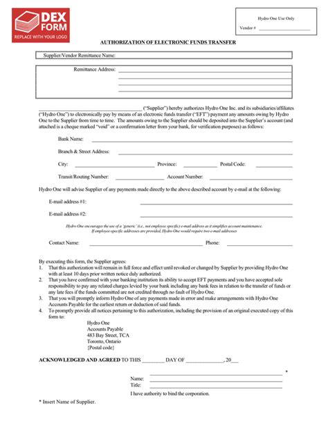 electronic funds transfer authorization form  word