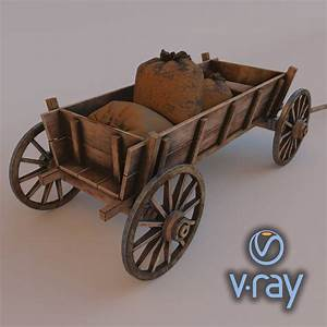 Wooden Cart With Load 3d Model