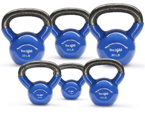 kettlebell vinyl equipment coated yes4all exercise kettlebells weight weights iron lbs sets workout cast fitness walmart body combo training exercises