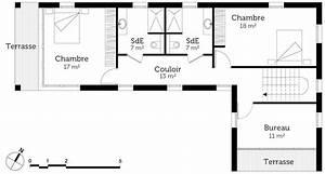 Plan maison à toit plat avec 3 chambres Ooreka