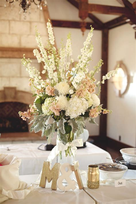 tall ivory blush wedding centerpiece arrangement utah