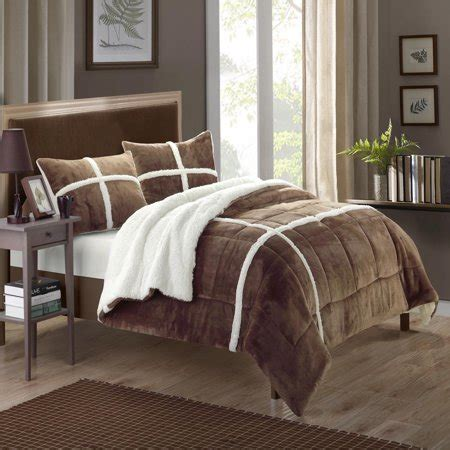 Sherpa Lined Comforter - plush microsuede sherpa lined brown king 3