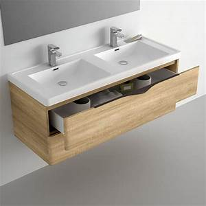 Furniture bathroom 120 cm oak 2 drawers composite plan for Meuble salle de bain 120 1 vasque