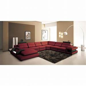 canape d39angle panoramique design cuir rouge et noir With tapis design avec vente canape design