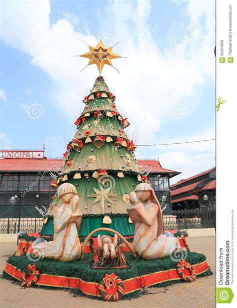 brazil manaus christmas tree and holy family editorial