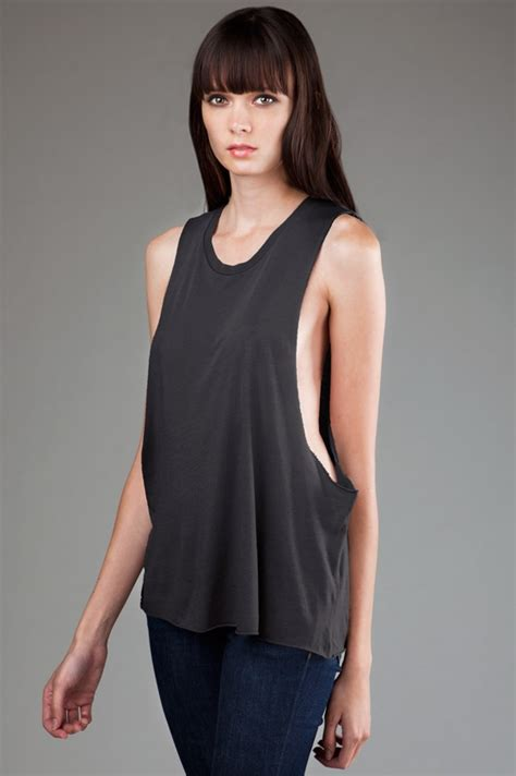 eco hybrid micro jersey deep side cut muscle tank