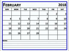 February 2018 Calendar Editable Printable Template