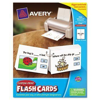 Avery Custom Print Flash Cards Punched 6 Pack Punched Printable Flash Cards White 4 1 4 X