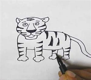 How to draw a Tiger-in easy steps for children, kids ...