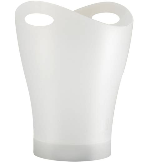 Small White Bathroom Trash Can by Garbino Curved Trash Can Translucent White In Small
