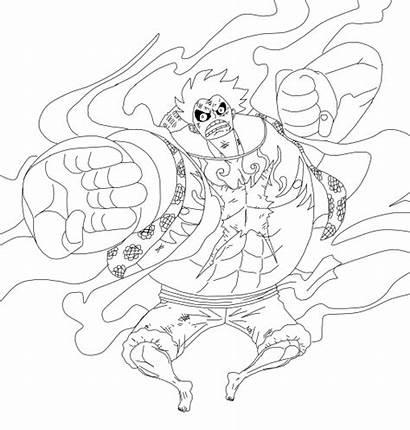 Luffy Gear Piece 4th Monkey Lineart Drawing