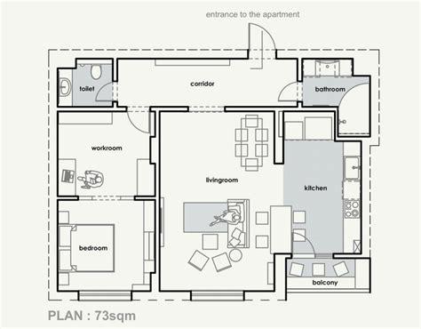 plan de cuisine ouverte sur salle à manger cuisine ouverte sur salon aux accents gris et jaunes