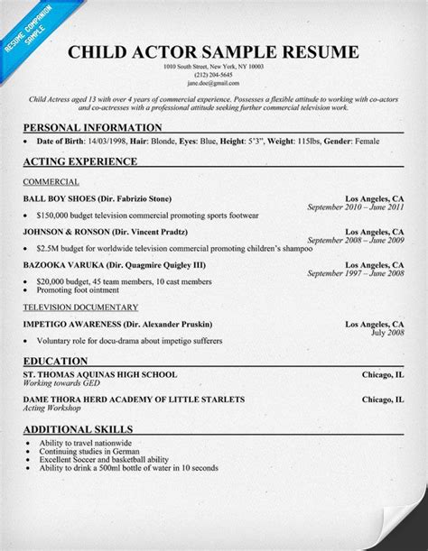 Acting Resume Templates by Child Actor Sle Resume Child Actor Sle Resume Are Exles We Provide As Reference To