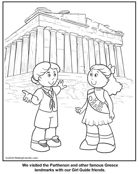 greek girl guide coloring page greece thinking day
