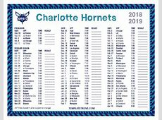 Printable 20182019 Charlotte Hornets Schedule