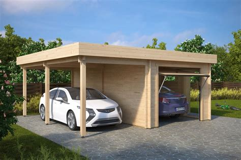 Combined Garage And Carport With Up And Over Doors Type H