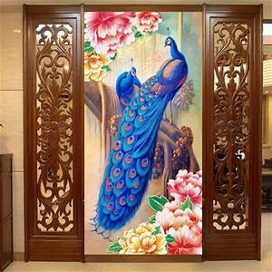 popular door mural wallpaper buy cheap door mural With what kind of paint to use on kitchen cabinets for peacock 3 piece wall art