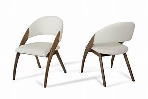 Modrest, Lucas, Modern, Cream, U0026, Walnut, Dining, Chair
