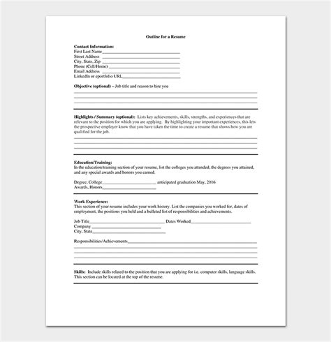 Resume Outline by Resume Outline Template Free Formats Exles Sles