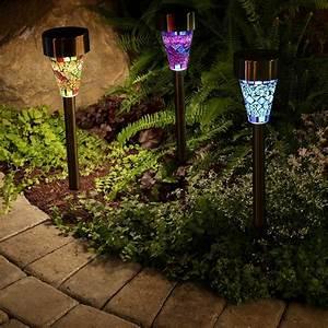 3pcs, Lot, Solar, Mosaic, Garden, Light, Led, Lamp, Stainless, Steel, Spot, Light, Outdoor, Lawn, Landscape