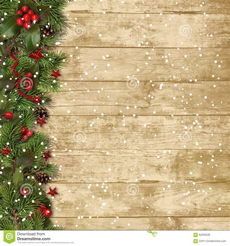christmas fir branches  holly  wood background stock