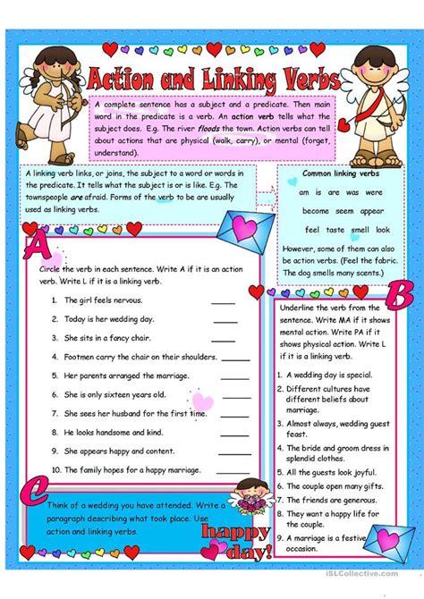 action  linking verbs  activities worksheet