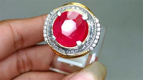 ruby corundum merah delima batu cincin permata asli kode 1427 youtube