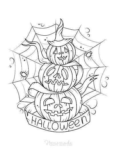Coloring Pages Halloween Printable Scary Easy Pumpkin