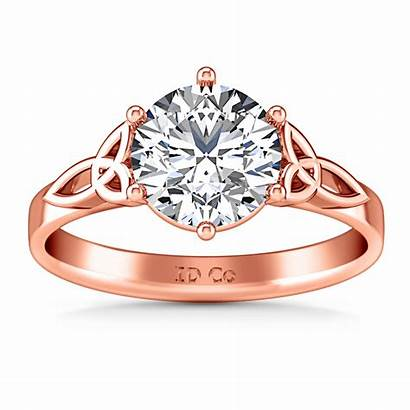 Celtic Knot Engagement Ring Gold Rose Solitaire