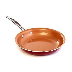 amazoncom red copper ceramic  stick  cookware pan kitchen dining