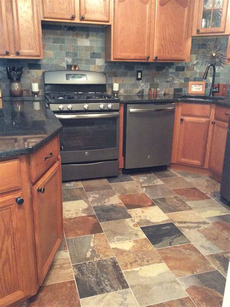 Porcelain Slate Tile Kitchen With Ge Slate Appliances