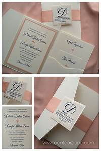 peach and ivory cream pocket invitation with navy blue With wedding invitations wrapped in ribbon