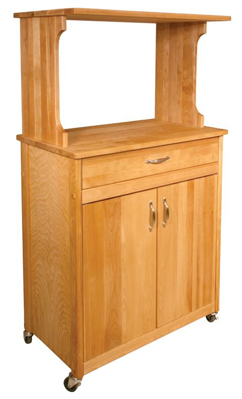 Kitchen Cart With Microwave Shelf, Butcher Block Top