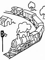 Coloring Pages Train Trains Subway Transportation Printable Railroad Freight Mycoloring Template sketch template