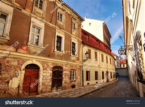 Old Streets Of Prague Cobblestone Road Stock Photo