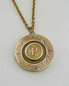 Necklace locket initial letter p vintage by for Letter locket