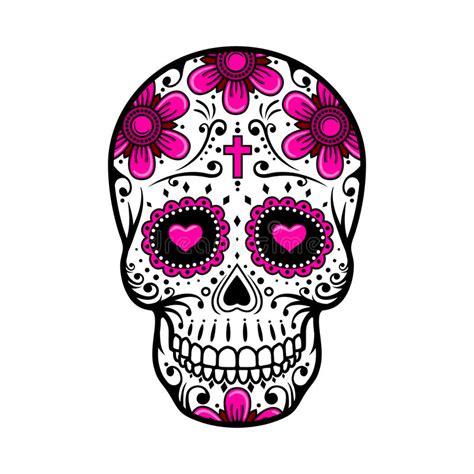 day   dead skull sugar flower tattoo vector illustration stock vector illustration
